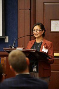 NIJ Director Nancy Rodriguez addresses the audience